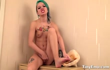 Green Haired Emo Teen Rubs Clit