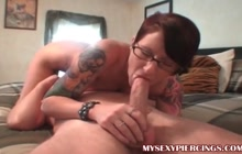 Inked emo GF blowing cock