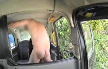 Tattooed girl fucked in the fake taxi